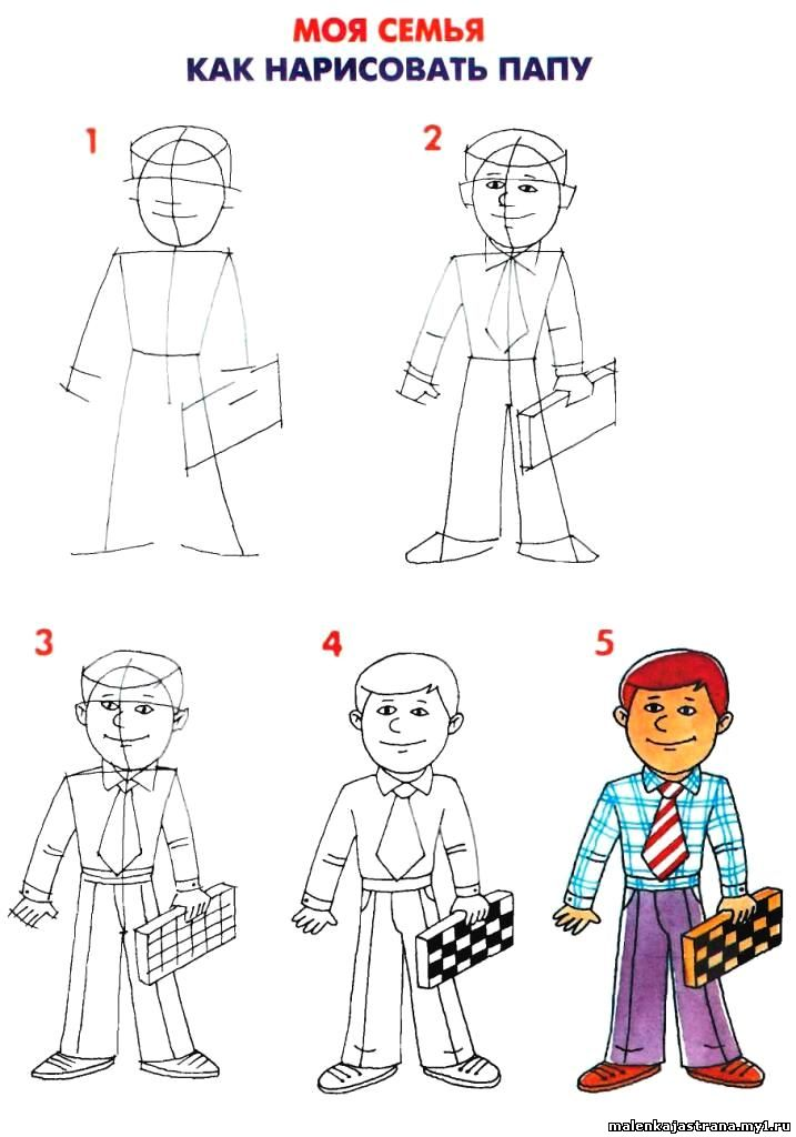 Схемы и пошаговые инструкции. Рисование папы