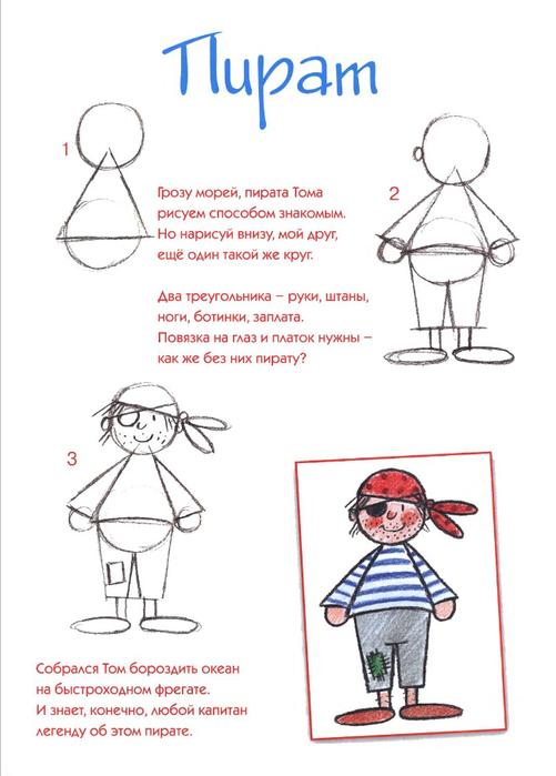 Схемы и пошаговые инструкции Рисование пирата